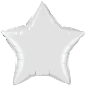 "20"" White foil Star Balloon Product Display"