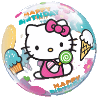 Helly Kitty Birthday Cupcakes Bubble Balloon in a Box