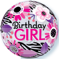 "22"" Pink Birthday Girl Bubble Balloon in a Box"