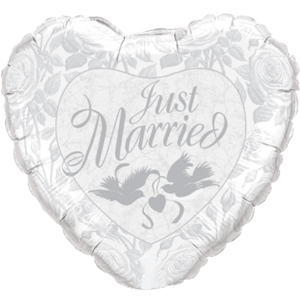 Just Married Silver Doves Balloon in a Box