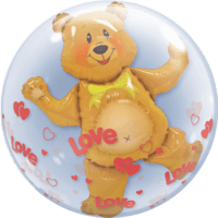 Teddy Bear and Love Hearts Bubble Balloon in a Box