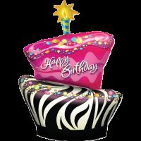 Birthday Funky Zebra Stripe Cake Balloon in a Box