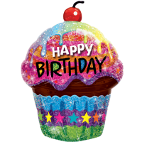 """35"""" Holographic Happy Birthday Cupcake Balloon in a Box"""