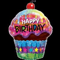 "35"" Sparkly Scrumptious Birthday Cupcake Balloon in a Box"