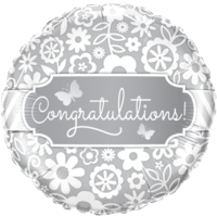 Congratulations Flower Pattern Foil Balloon