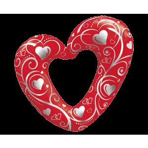 Hearts & Swirls Red