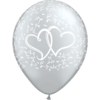 "11"" Just Married Hearts Silver Latex Balloons x 25 overview"