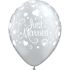 """11"""" Just Married Hearts Silver Latex Balloons x 25 overview"""