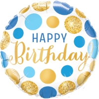 Birthday Blue & Gold Dots Balloon in a Box