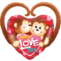 "39"" Happy Love Day Monkeys Balloon in a Box"