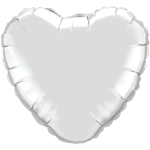 "18"" Silver foil Heart Balloon Product Display"