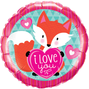 "18"" I Love You Foxy Heart Balloon in a Box"