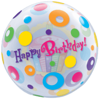 Polka Dotted Cupcake Happy Birthday Balloon in a Box