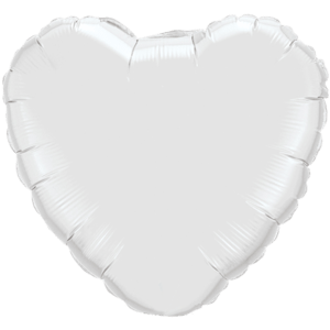 "18"" White foil Heart Balloon Product Display"