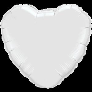"18"" White foil Heart Balloon"