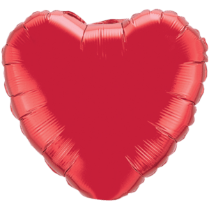 Bright Red Metallic Heart Balloon in a Box