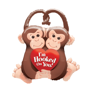 Hooked On You Monkey  Balloon in a Box
