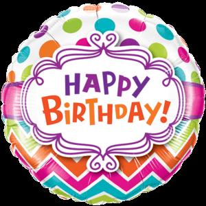 "18"" Happy Birthday Dots Balloon in a Box"
