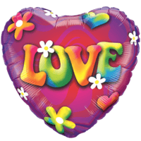 Psychedelic Love Heart Colourful Balloon in a Box