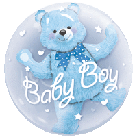 Baby Boy Blue Bubble Balloon in a Box
