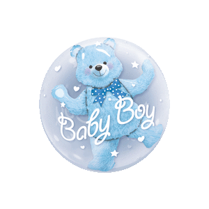 Blue Baby Boy Bear Balloon in a Box