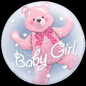Pink Bear Baby Girl Bubble