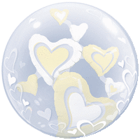 White & Ivory Floating Bubble  Balloon in a Box