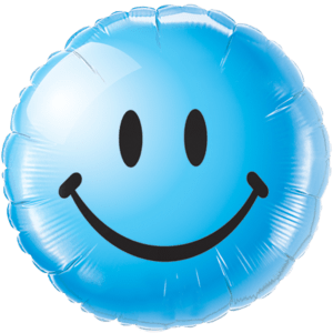 Bright Blue Smiley Face Balloon in a Box