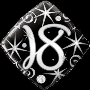 18th Black Diamond Birthday Balloon  Balloon in a Box