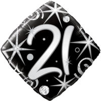 21st Black Diamond Birthday Balloon  Balloon in a Box
