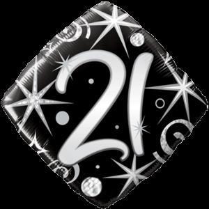 21st Black Diamond Birthday Balloon  Balloon in a Box