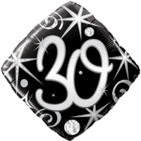 30th Black Diamond Birthday Balloon  Balloon in a Box