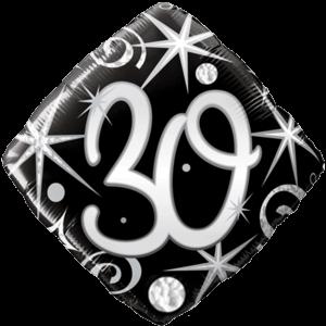 30th Black Diamond Birthday Balloon  Balloon in a Box