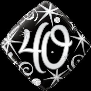 40th Black Diamond Birthday Balloon  Balloon in a Box