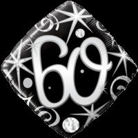 60th Black Diamond Birthday Balloon  Balloon in a Box