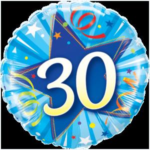 30 Blue Star Balloon in a Box
