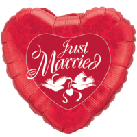 Just Married Red Heart with Love Birds Balloon in a Box