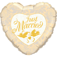 Just Married Golden Love Birds Heart Balloon in a Box