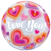 "22"" Love You Doodle Hearts Bubble Balloon in a Box"