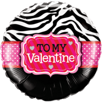 To My Valentine Zebra Print Balloon in a Box
