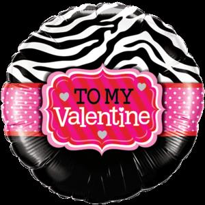 To My Valentine Zebra Print Balloon in a Box