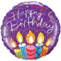 Purple Birthday Party Candles Balloon in a Box