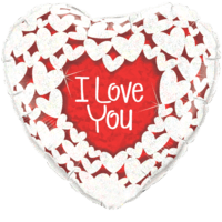 I Love You White and Red Hearts Balloon in a Box