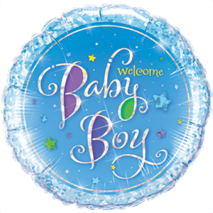 Sparkly Blue Baby Boy  Balloon in a Box