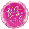 "18"" Baby Girl Holographic Stars Balloon overview"