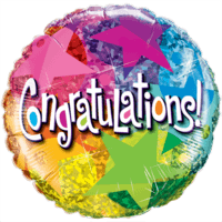Congratulations Star Patterns Balloon in a Box