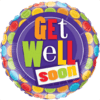 """18"""" Colourful Dots Get Well Soon Balloon overview"""