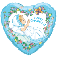 Blue Christening Heart Balloon in a Box