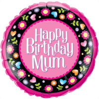 Happy Birthday Mum Floral Border Balloon in a Box