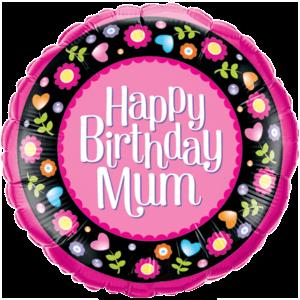 Happy Birthday Mum Floral Border Balloon in a Box